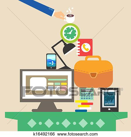 clip art of workplace and business objects for hard work k16492166 rh fotosearch com Animal Clip Art Food Clip Art