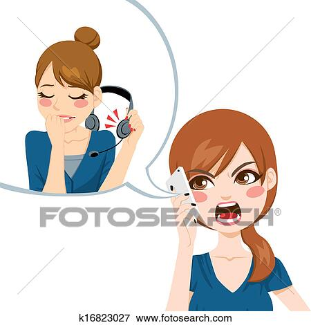 clip art of yelling to customer service k16823027 search clipart rh fotosearch com customer service clipart free customer clipart black and white