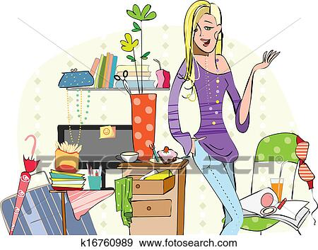 clip art of young girl in a messy room k16760989 search clipart rh fotosearch com Dirty Hospital Room messy bedroom clipart