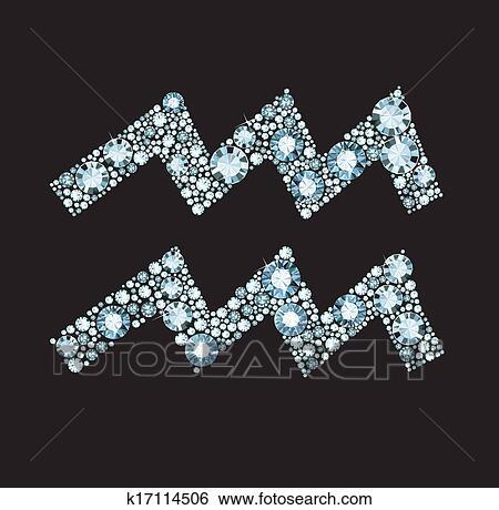 الماس برج الدلو رمز Clip Art K17114506 Fotosearch