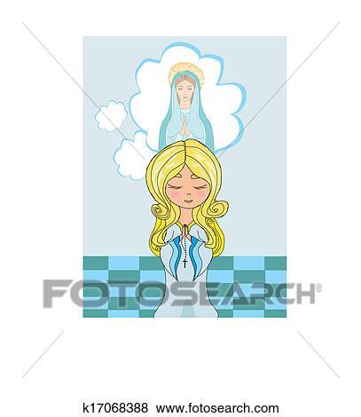 クリップアート かわいい 女の子 祈ること へ 神聖な聖母マリア