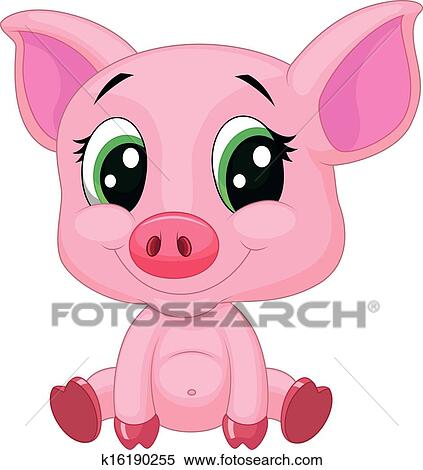 かわいい 赤ん坊 豚 漫画 クリップアート切り張りイラスト絵画