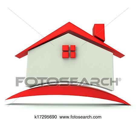 家 赤 屋根 イラスト ロゴ クリップアート切り張りイラスト
