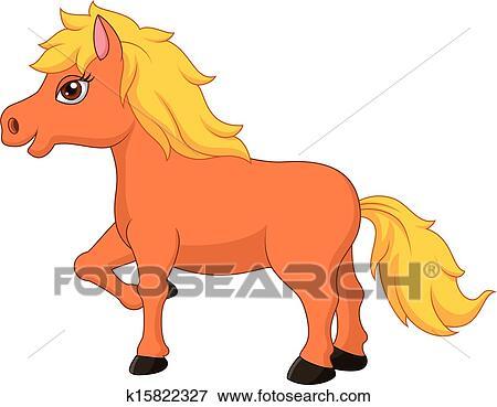 马的卡通画_漂亮, 矮种马, 马, 卡通漫画 剪贴画 | k15822327 | Fotosearch