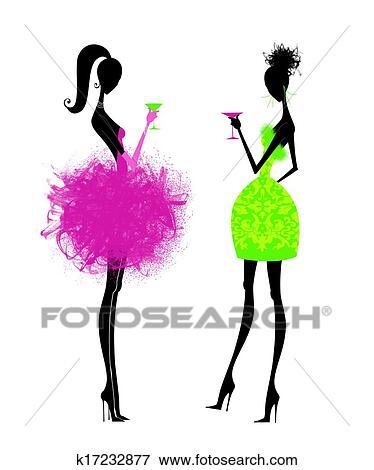 2 シック 若い女性たち 中に パーティードレス イラスト
