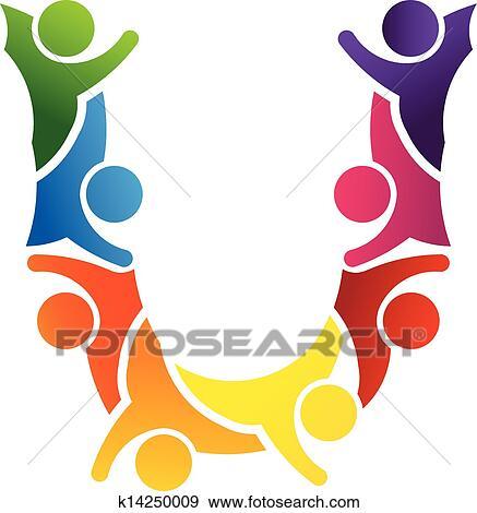 clip art of alphabet teamwork letter u k14250009 search clipart rh fotosearch com clip art teamwork pictures clipart teamwork hands