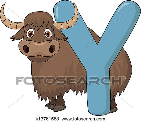 Clip Art Of Alphabet Y With Yak Cartoon K13761568 Search Clipart