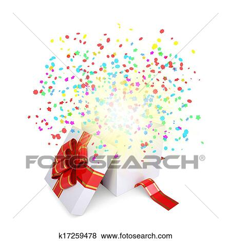 Stock Illustration Of Asterisks Fly From The Open Gift Box K17259478