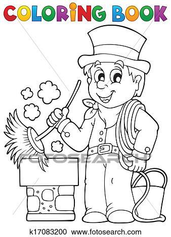 Clipart - ausmalbilder, rauchfangkehrer k17083200 - Suche Clip Art ...