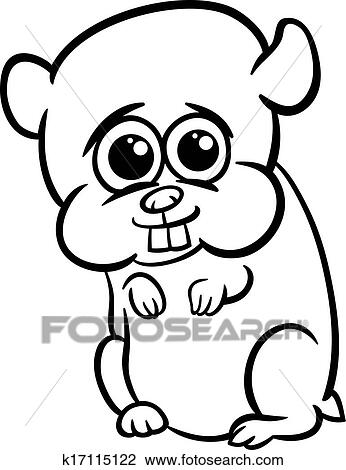 Baby Hamster Cartoon Coloring Page Clipart K17115122
