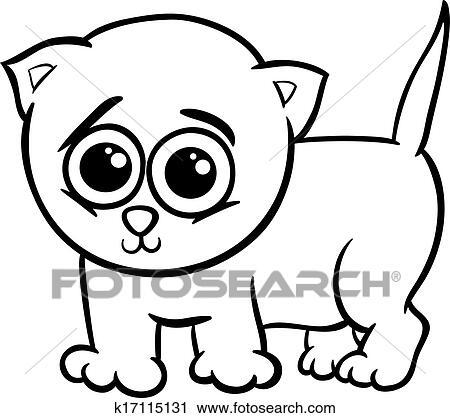 Baby Katzenbaby Karikatur Färbung Seite Clipart