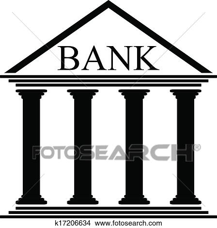 clipart of bank icon k17206634 search clip art illustration rh fotosearch com clip art banking clip art bank teller