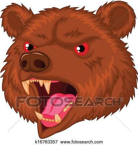 clip art of bear head mascot cartoon character k16763357 search rh fotosearch com bear mascot clipart images in black and white Bear Clip Art