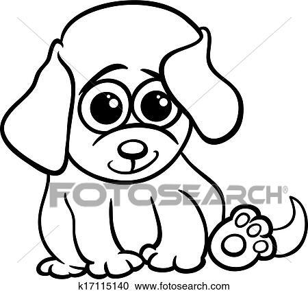 Clipart - bebé, perrito, caricatura, colorido, página k17115140 ...