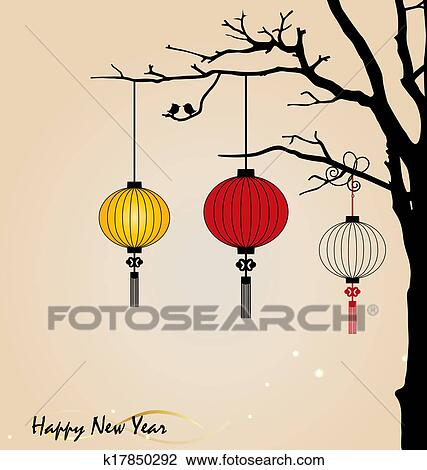 big traditional chinese lanterns will bring good luck and peace to prayer during chinese new year vector illustration