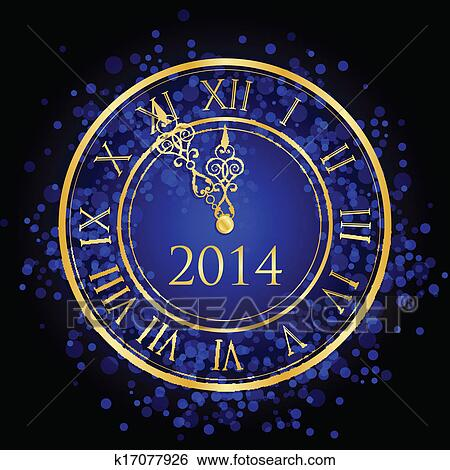 clip art blue and gold new year clock fotosearch search clipart illustration