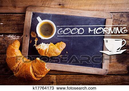 Bonjour à Café Et A Croissant Banque D Image
