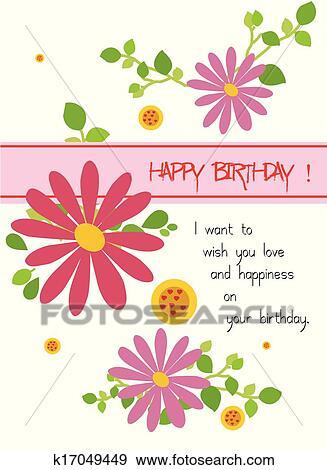 Clip Art Buon Compleanno Con Fiori K17049449 Cerca Clipart