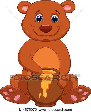 Carino orso cartone animato con miele clipart k