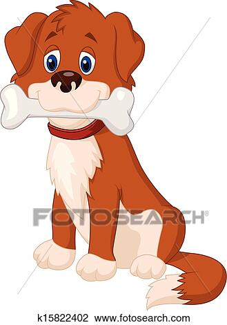 Cartone animato cane con osso clipart k fotosearch