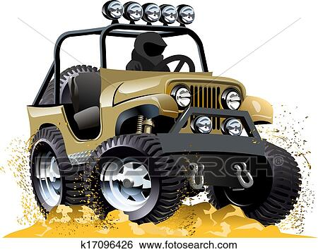 Cartone animato jeep clip art k fotosearch