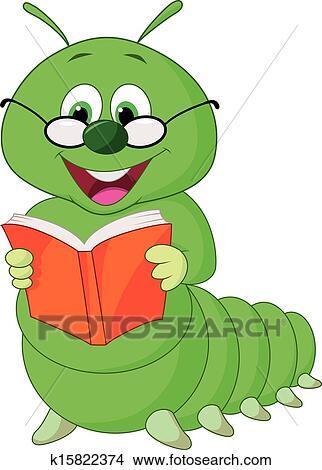 Cartoon Caterpillar Reading Book Clipart K15822374 Fotosearch