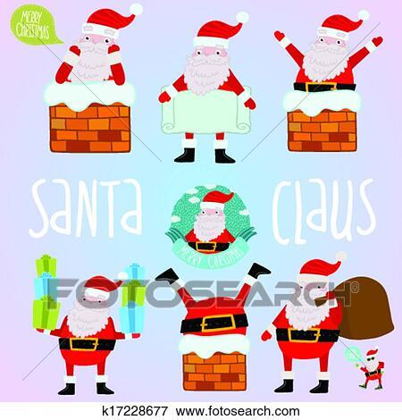 Christmas Set.Cartoon Santa Claus Set For Merry Christmas Design Clip Art