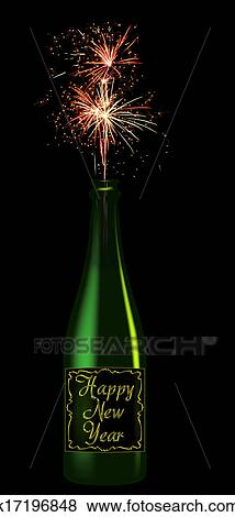 champagne bottle with the inscription happy new year from that fires fireworks isolated on black background