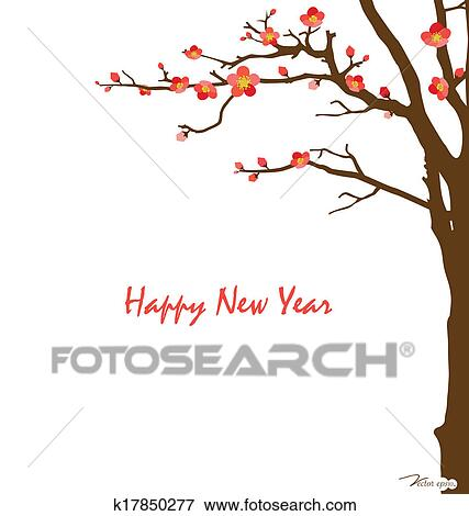 Clip Art of Chinese New Year card with cherry blossom. Vector ...