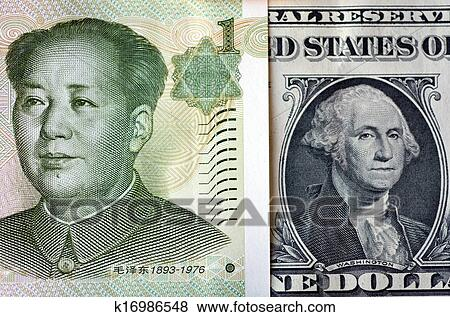 One Chinese Yuan Bill Mao Zedong On American Dollar Money George Washington Concept Photo Of Economy Currency Strategy Growth Corporate Ets