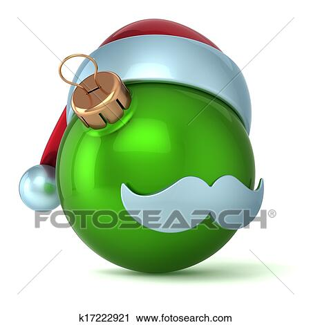 893dae0579479 Christmas ball Santa Claus hat New Years Eve bauble ornament green  decoration happy emoticon avatar icon. Seasonal wintertime Merry Xmas  mustache toy ...