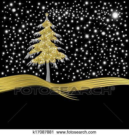 Christmas Card Gold Tree Ornate With Golden Fleur De Lis Clip Art