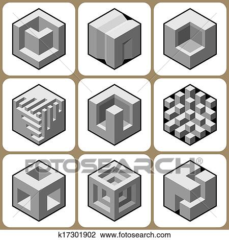 Cube Icons Set 5 Drawing | k17301902 | Fotosearch