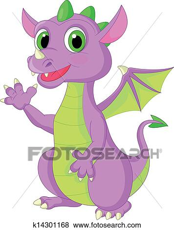 clip art of cute baby dragon cartoon waving k14301168 search