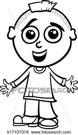 Black And White Cartoon Illustration Of Cute Happy Little Boy For Coloring Book