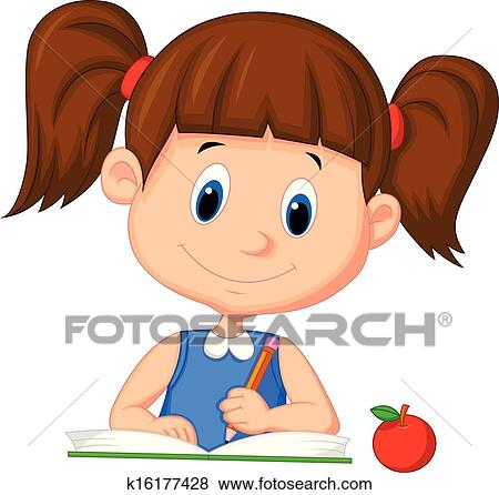 clip art of cute cartoon girl writing on a book k16177428 search rh fotosearch com  clipart boy and girl writing