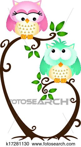 Cute Couple Owls On The Tree Clipart K17281130 Fotosearch