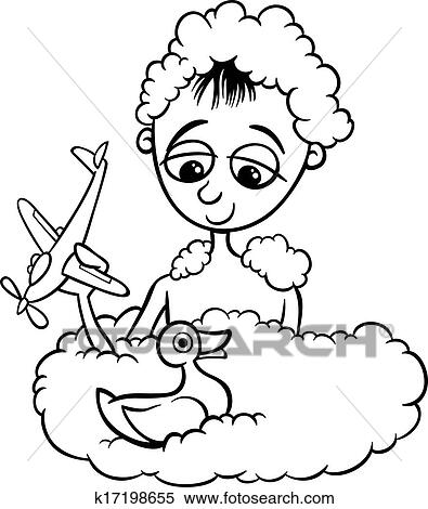 Clipart of cute little boy in bath coloring page k17198655 - Search ...
