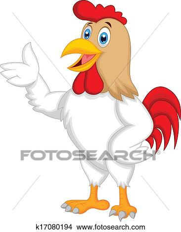 clipart of cute rooster cartoon presenting k17080194 search clip