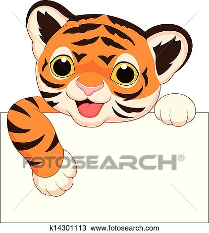 clipart of cute tiger cartoon with blank sign k14301113 search rh fotosearch com