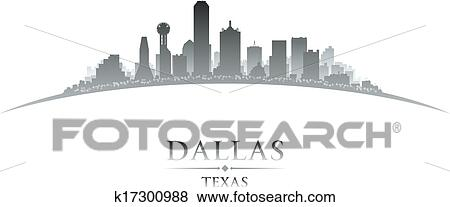 clip art of dallas texas city skyline silhouette white background