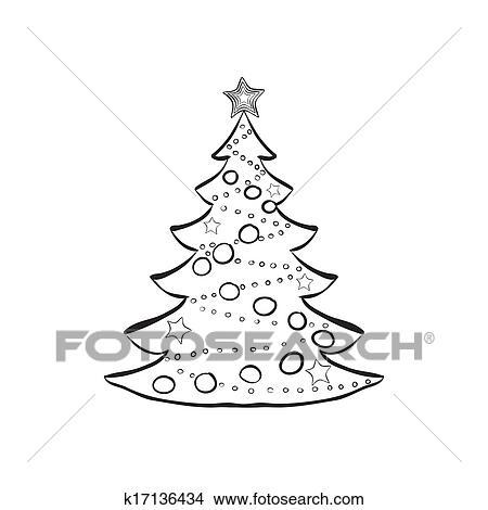 Weihnachtsbaum Schwarz Weiß.Dekoriert Weihnachtsbaum Skizze Clipart