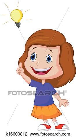 Dessin Animé Petite Fille à Grande Idée Clipart