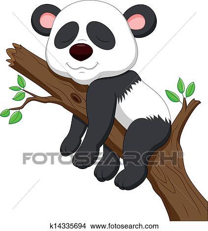 Dormir Panda Dessin Animé Clipart