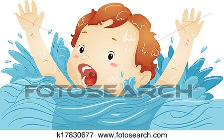 clip art of drowning boy k17830677 search clipart illustration rh fotosearch com clipart drowning man drowning clipart black and white