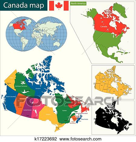 Karta Pa Kanada.Fargrik Kanada Karta Clipart K17223692 Fotosearch