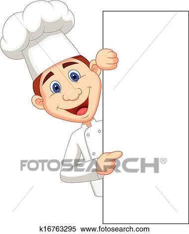 Clipart Felice Chef Cartone Animato Presa A Terra Vuoto