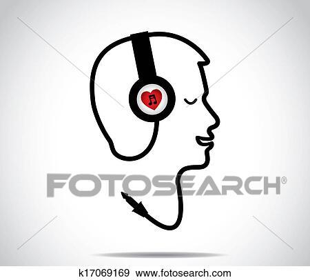 Fones Com Amor Simbolo Musica E Seu Acorde Dado Forma Em