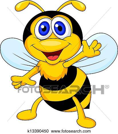 Funny Bee Cartoon Waving Clipart K13390450