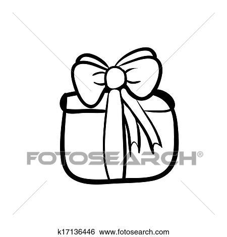 Clip Art Of Gift Box Sketch K17136446